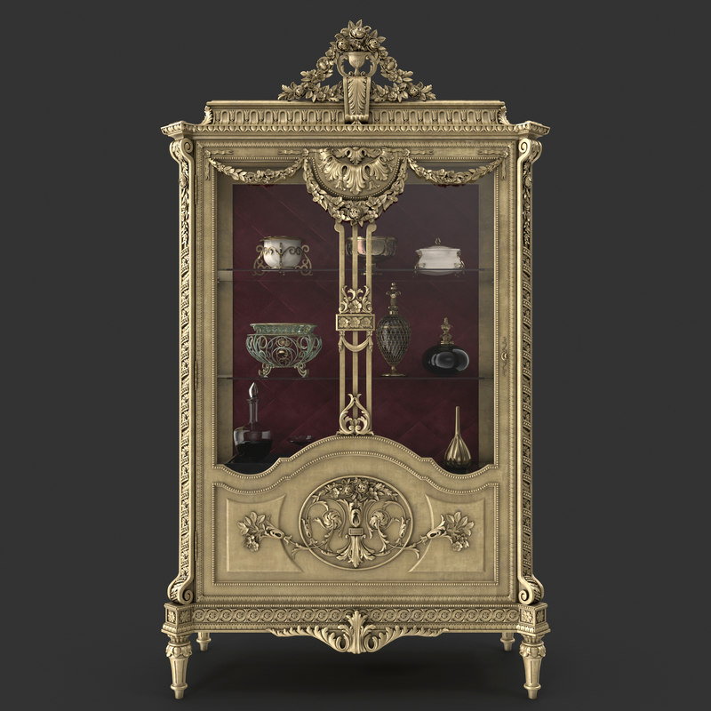 3d luxurious display cabinet model