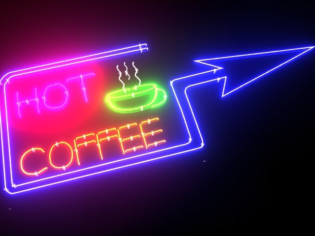 hot coffee neon sign max