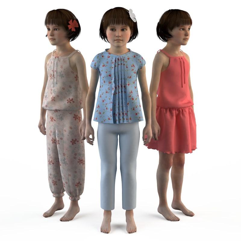 fashion clothing baby cartoon girls 3d max