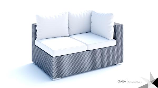 3d beliani wicker lounge set model