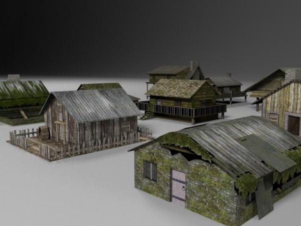 jungle houses 3d 3ds