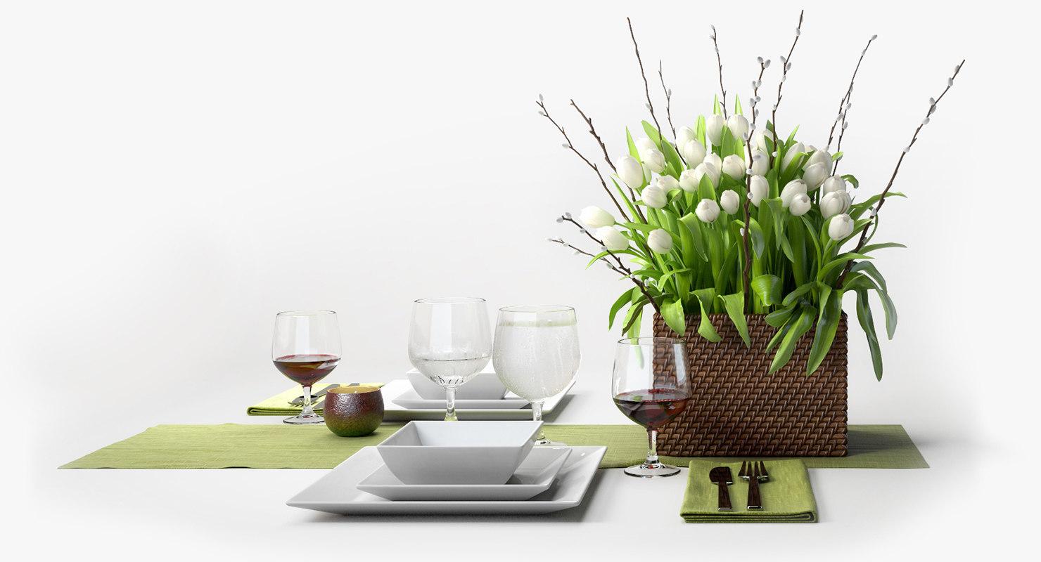 3d patriciagray flower set centerpiece model