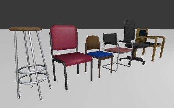chairs set 3d c4d