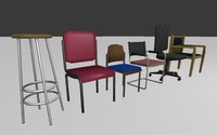 Chairs Set Low Poly