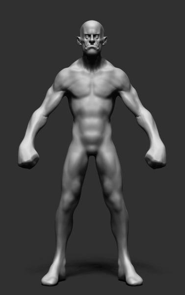 humanoid creature ztl 3d model