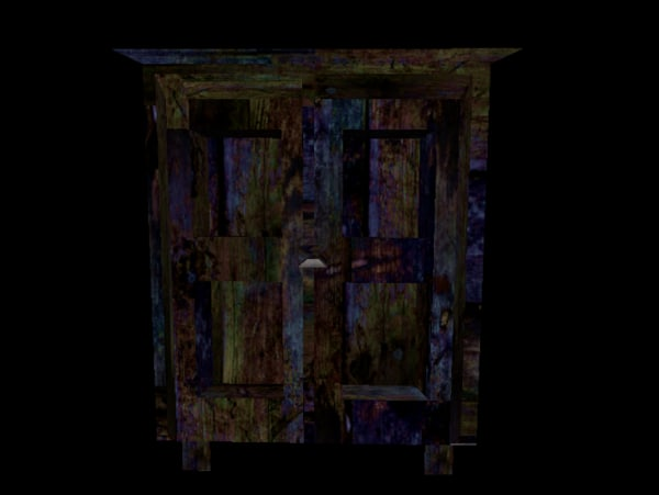 free obj model wardrobe dark wood blue