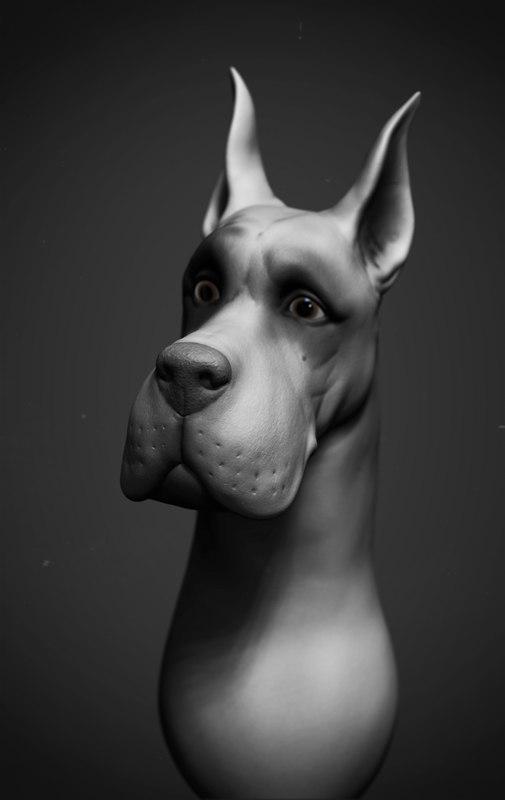 highpoly dog 3d obj