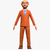 3d cartoon office worker model