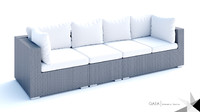 Beliani Wicker Lounge Set Maestro Three Piece Sofa