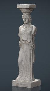 3d caryatid column statue model