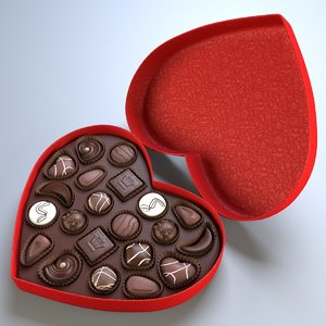 3d heart box chocolates model