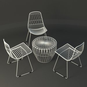 3d white wire table chair