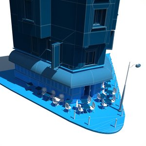 3d model of le carillon cafe attacked
