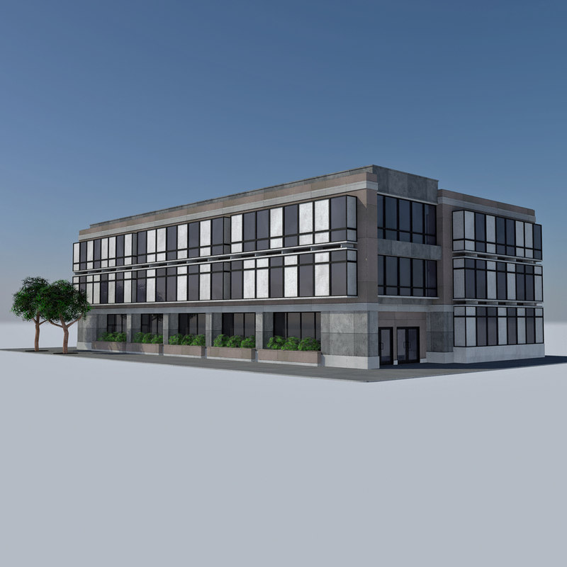 3d - city office building model