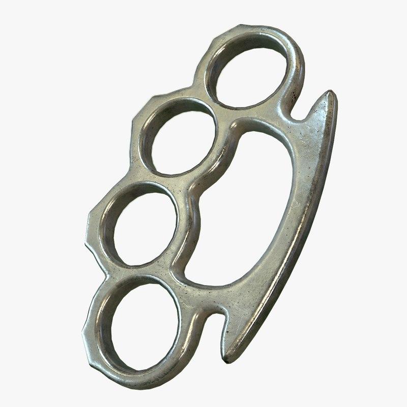 ready brass knuckles pbr 3d model