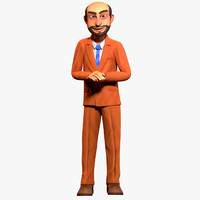 3d rigged cartoon office worker model