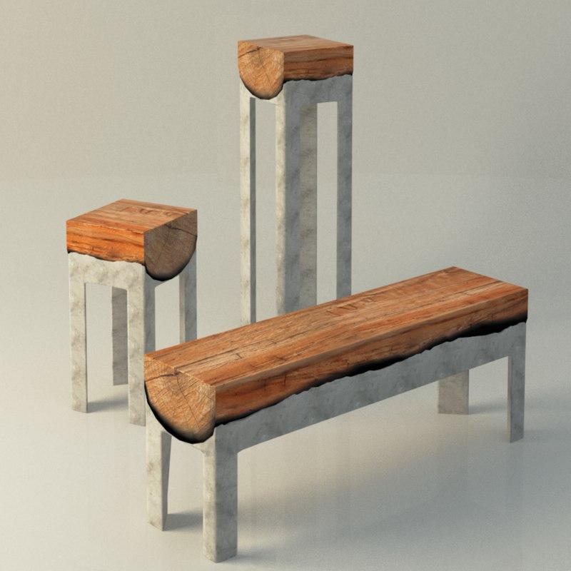 3d model wood stools cast