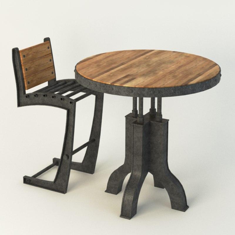 3d vintage industrial chair model