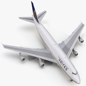 3d boeing 747-300 united