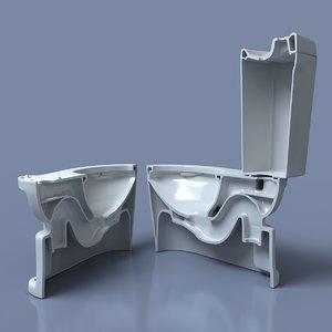 3d model toilet cut half