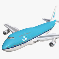 Boeing 747-300 KLM Rigged 3D Model
