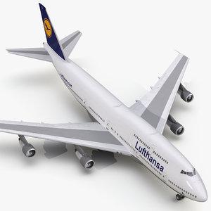 3d model boeing 747-300 lufthansa