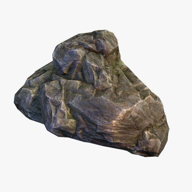 3d model mossy boulder