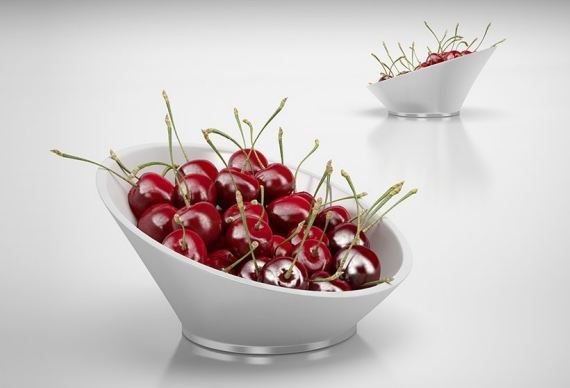 3d bowl cherries model