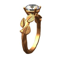 Tree branch gold ring solitaire