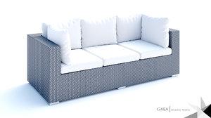 3d model beliani wicker lounge set