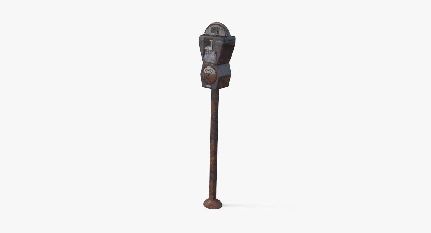 3d rusty parking meter