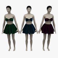 bra skirt female avatar 3d max