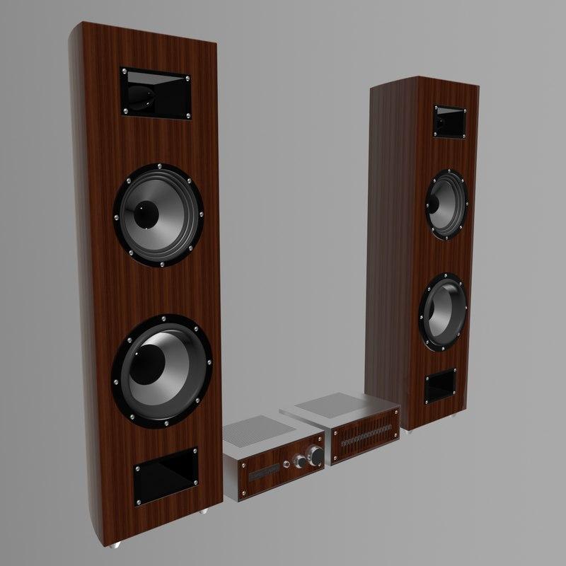speakers electronic screen 3d model