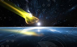 Falling comet and blue Planet Earth
