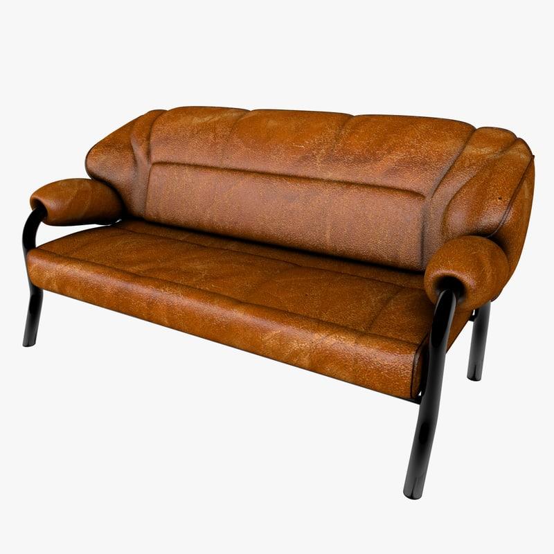 3d model of stylish modern sofa leather