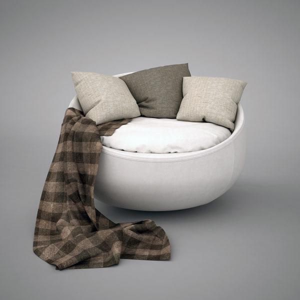 free comfortable armchair modern 3d model
