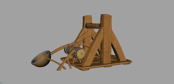 wooden catapult 3d obj