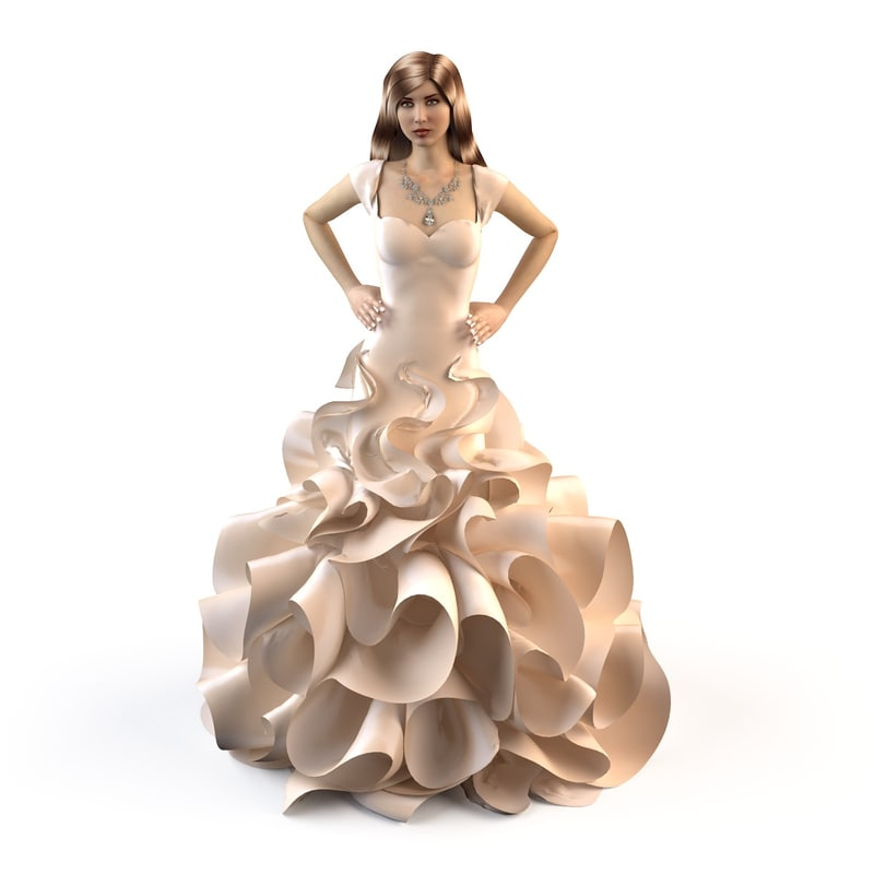 evening wedding dress 3d ma