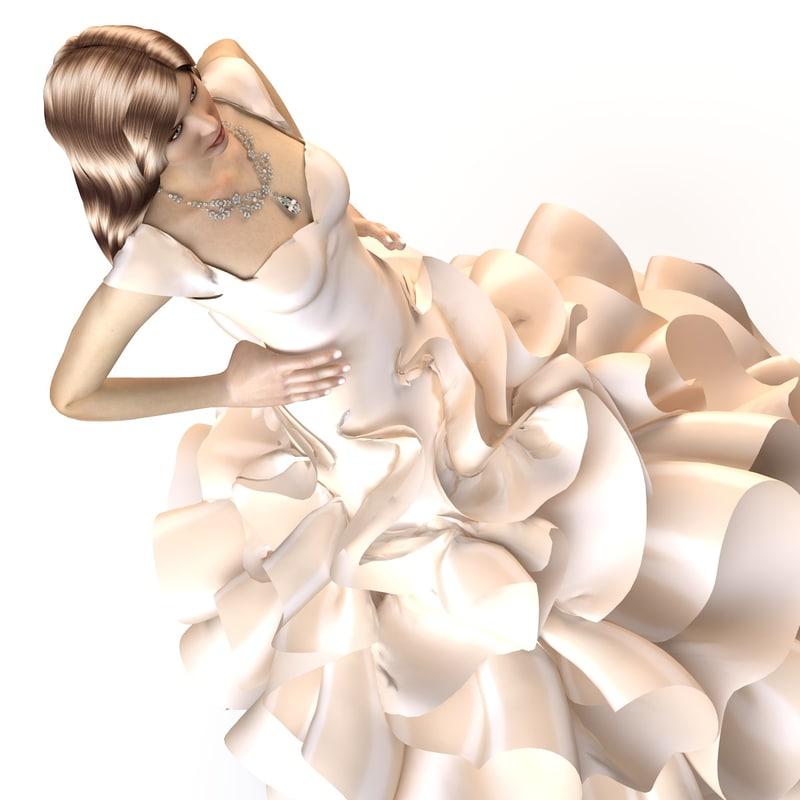 evening wedding dress 3d ma