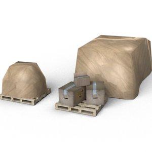 free boxes pallet 3d model