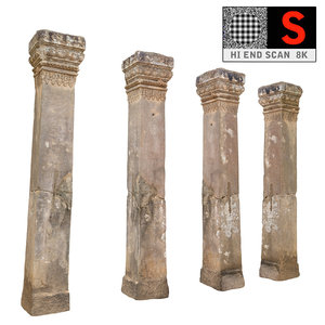 3d model ancient column cambodia