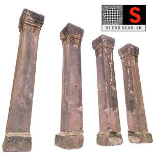 ancient column cambodia 3d obj