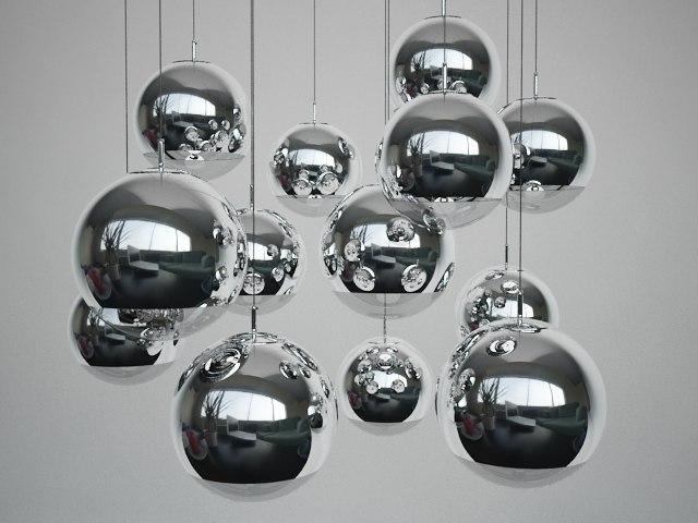 3d model mirror ball pendant light
