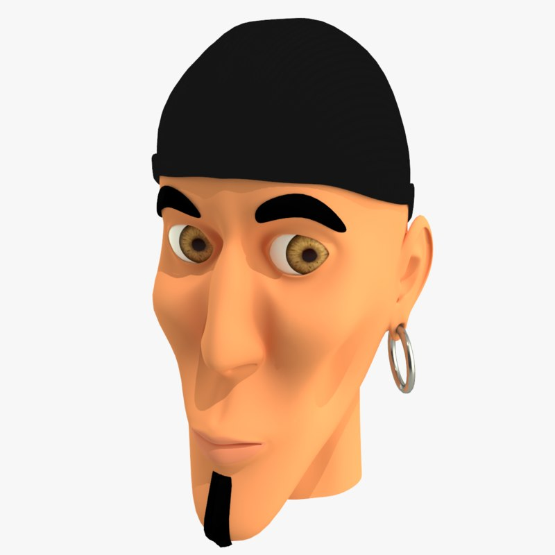 cartoon character mobster faces 3d model