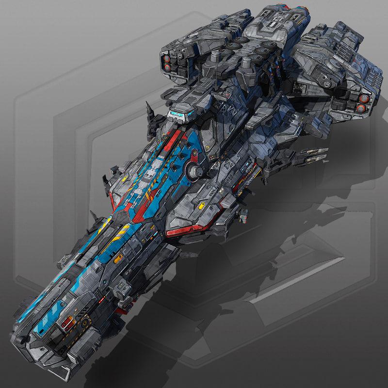 sci fi battleship g6 3d max