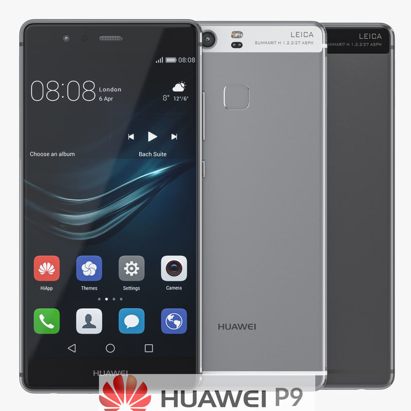 huawei p9 smartphone white 3d 3ds