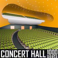 modern concert hall 1000 3d model