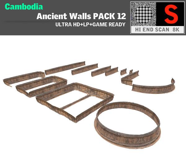 3d acient walls pack 12 model