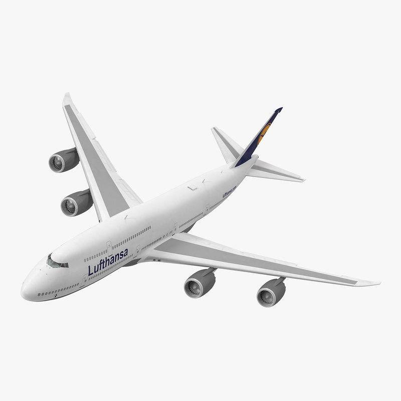 3d model boeing 747-8i lufthansa rigged