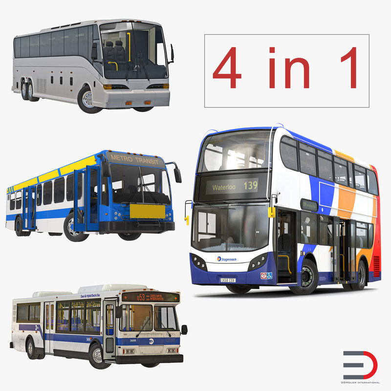 rigged buses 2 bus 3d model